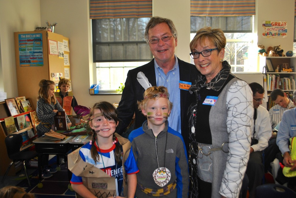 Mariemont Elementary second grade students Hayden and Delaney Kintner spend time with their visitors Mike Kintner and Vivian Schwab from Mariemont.