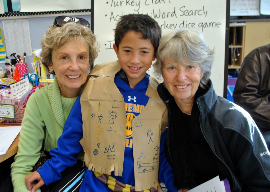 Mariemont Elementary 2nd grade student Matsen Saruwatari with his special visitors, Carole and Gab Saruwatari from Mariemont.