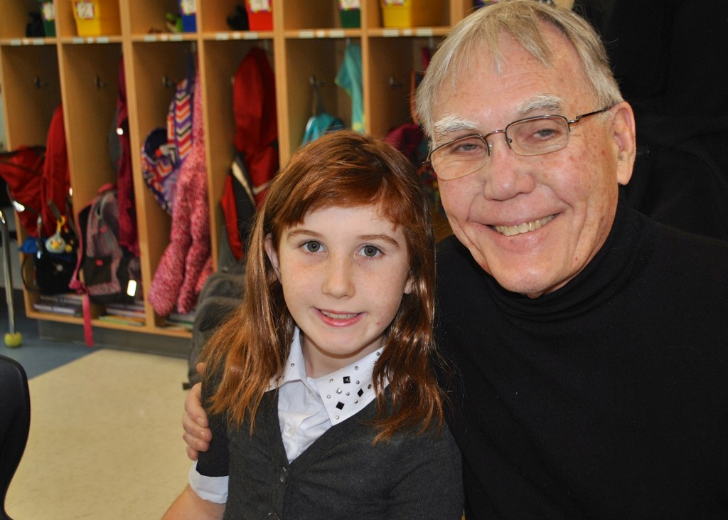 Anna Morgan (3rd grade, Mariemont, Mariemont Elementary) enjoys quality time with her grandfather John Morgan.