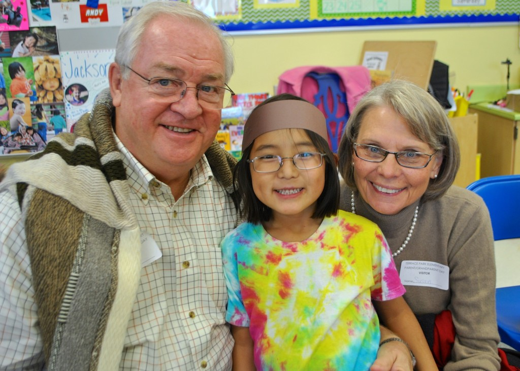 Susan & Hugh Holm from Florida, with granddaughter Nurai Morrison (kindergarten, Terrace Park Elementary)