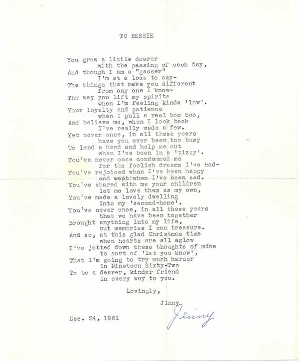 A Holiday Poem to Bessie Thomas Justin from Jinny Wyatt, secretary to the Mayor in 1961.