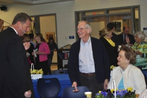 Mariemont High School Principal enjoys a conversation with Donald and Peggy Keyes.