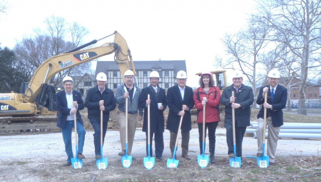 Livingood Groundbreaking with shovels, from left to right- Village of Mariemont Mayor Dan Policastro, Kurt Heinbecker, Dave Stelzer, North American Properties, Tom Williams, North American Properties, Rick Greiwe, Greiwe Development, Sandy Tenhundfield, K4, Kevin Faller, CR Architecture, Kirk Hodulik Mariemont Building Commissioner.